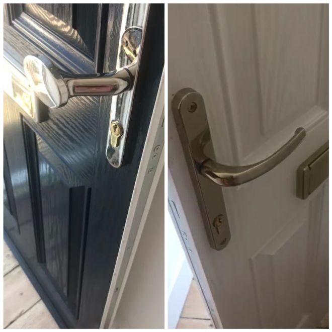 Two new door handles and locks