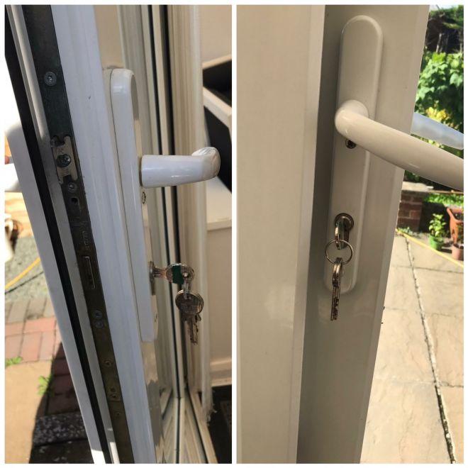 Keys hanging in uPVC door
