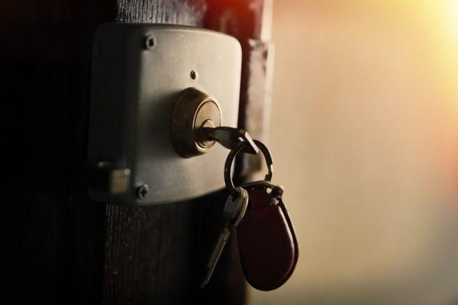 Keys hanging in Yale lock